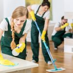 Professional cleaners wearing uniform