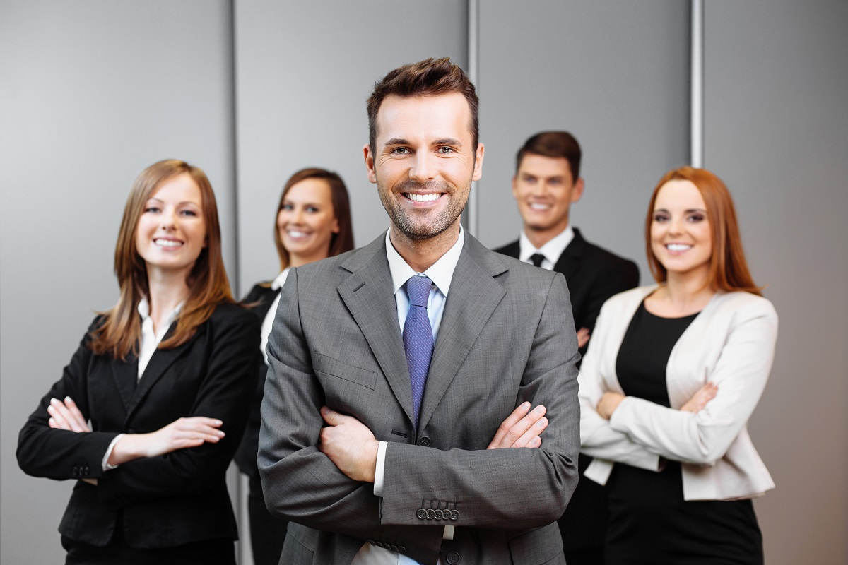 business owner and employees