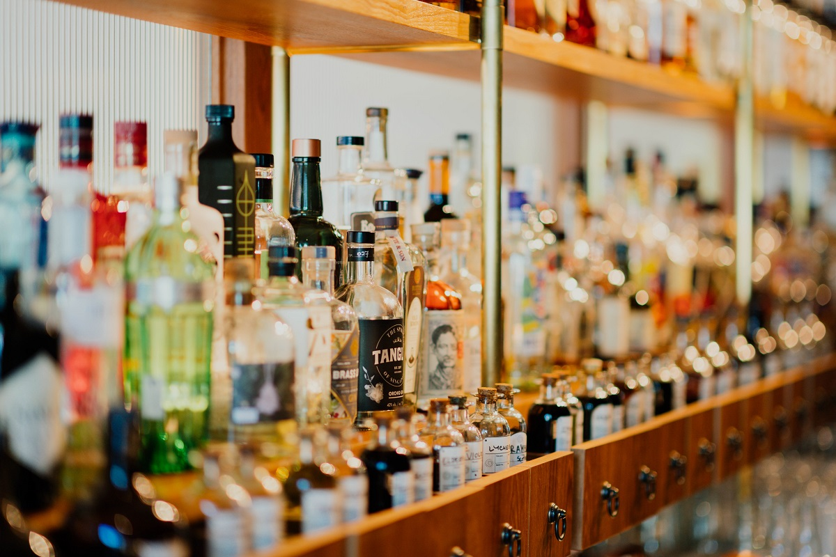 alcohol in bar