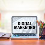 digital marketing on laptop screen