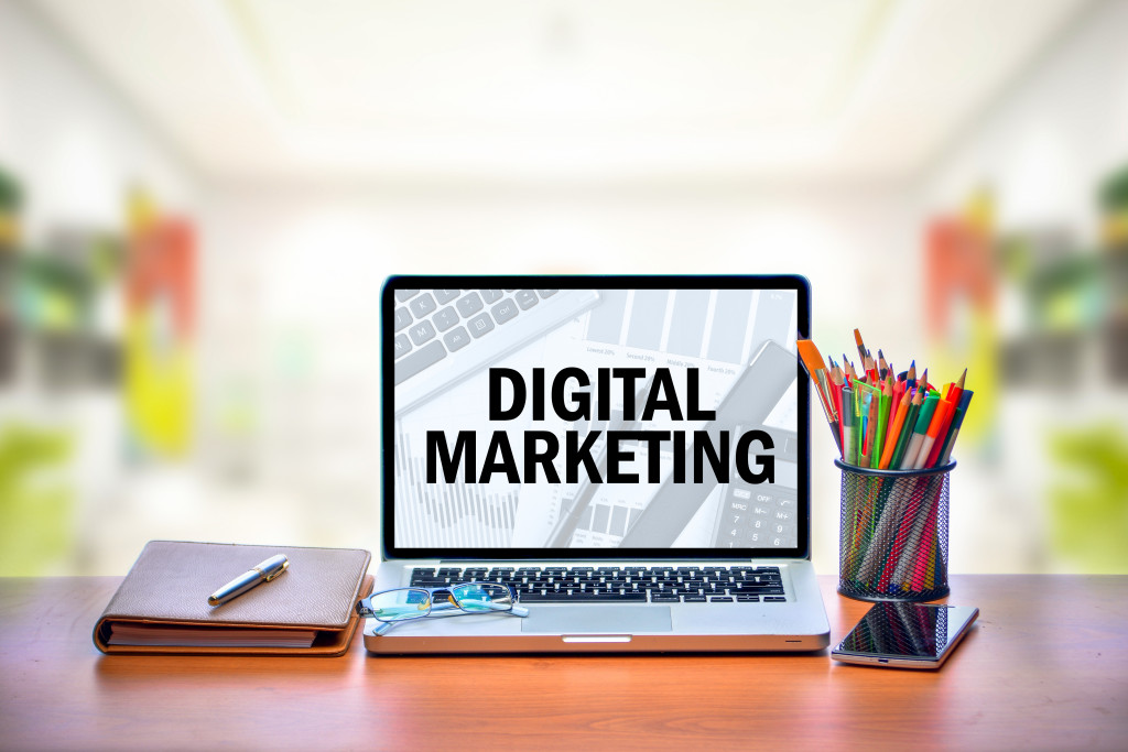 digital marketing on laptop screen
