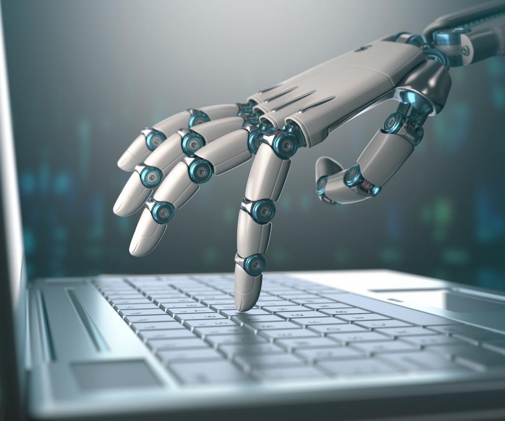 robotic hand using laptop
